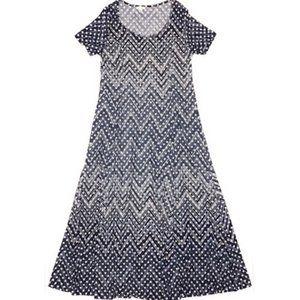 Haani Navy Blue & White Chevron Polka Dot Dress XL
